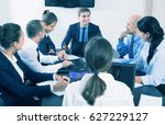 coworkers meeting at conference ... | Shutterstock . vector #627229127
