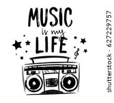 music is my life. t shirt... | Shutterstock .eps vector #627229757