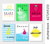 summer cards and banners... | Shutterstock .eps vector #627245153