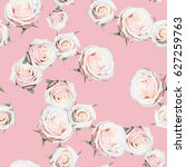 roses pattern gently pink green ... | Shutterstock . vector #627259763
