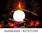 fortune teller woman holding... | Shutterstock . vector #627271703