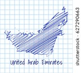 map of united arab emirates ... | Shutterstock .eps vector #627290663