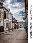 a small town street with a... | Shutterstock . vector #627291017
