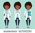 set. doctor of african descent...   Shutterstock .eps vector #627292253