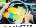 to do list in a car on driving... | Shutterstock . vector #627297257