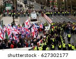 london  uk. 1st april 2017.... | Shutterstock . vector #627302177