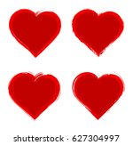 set of grunge hearts.vector... | Shutterstock .eps vector #627304997