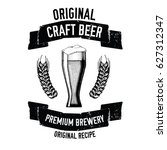 hand drawn beer emblem with... | Shutterstock .eps vector #627312347