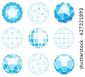 set of abstract 3d faceted... | Shutterstock . vector #627321893