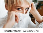Blonde Young Woman Wearing...