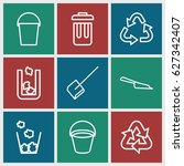 garbage icons set. set of 9... | Shutterstock .eps vector #627342407