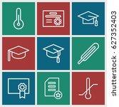 degree icons set. set of 9... | Shutterstock .eps vector #627352403