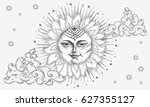 sun with face  clouds and stars ... | Shutterstock .eps vector #627355127