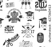 class of 2017 badges seamless... | Shutterstock .eps vector #627360413