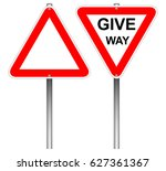blank warning sign and give way ... | Shutterstock .eps vector #627361367