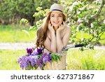 portrait of young beautiful... | Shutterstock . vector #627371867