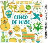 cinco de mayo celebration... | Shutterstock .eps vector #627374603