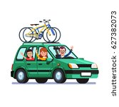 happy family traveling by car... | Shutterstock .eps vector #627382073