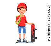 teen kid boy in baseball cap... | Shutterstock .eps vector #627383327
