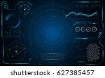 template hud gui screen hi tech ... | Shutterstock .eps vector #627385457