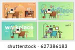 set of office workplace... | Shutterstock .eps vector #627386183