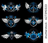 set of vintage emblems created... | Shutterstock . vector #627390323