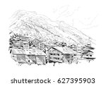 zermatt tourist resort.... | Shutterstock .eps vector #627395903