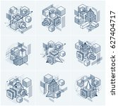 3d abstract isometric... | Shutterstock . vector #627404717