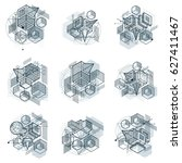 isometric linear abstract... | Shutterstock . vector #627411467