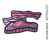 meat and bacon fast food icon | Shutterstock .eps vector #627421127