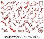 set of hand drawn arrow shape... | Shutterstock .eps vector #627424073