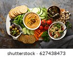 hummus and fresh vegetables... | Shutterstock . vector #627438473