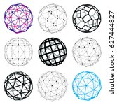 3d digital wireframe spherical... | Shutterstock . vector #627444827