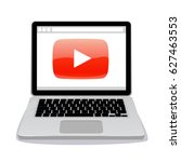 web page with play button.... | Shutterstock .eps vector #627463553