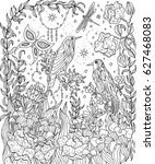 birds and flowers coloring page....   Shutterstock .eps vector #627468083
