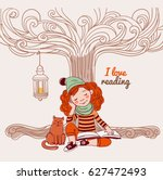 cute  funny girl reads a book... | Shutterstock .eps vector #627472493