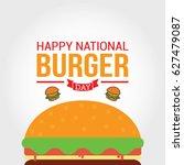 national burger day vector... | Shutterstock .eps vector #627479087