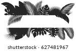 silhouette banner tropical... | Shutterstock .eps vector #627481967
