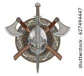 viking helmet  crossed viking... | Shutterstock .eps vector #627494447
