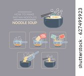 cooking instruction icon set ... | Shutterstock .eps vector #627495923