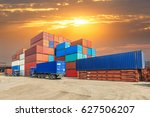 industrial port container... | Shutterstock . vector #627506207