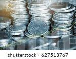 double exposure of stack of... | Shutterstock . vector #627513767