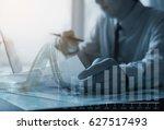double exposure of business man ...   Shutterstock . vector #627517493