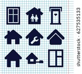 set of 9 residence filled icons ... | Shutterstock .eps vector #627535133