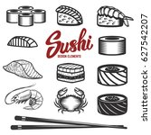 set of sushi icons on white... | Shutterstock .eps vector #627542207