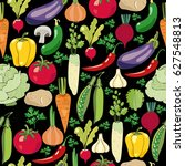 colorful vegetables seamless... | Shutterstock .eps vector #627548813