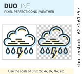 pixel perfect duo line rain... | Shutterstock .eps vector #627561797