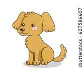 cute cartoon sitting dog.... | Shutterstock .eps vector #627586607
