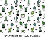 vector doodle cactus seamless...   Shutterstock .eps vector #627603083