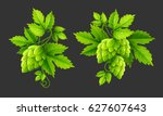 fresh hop plants with cones and ... | Shutterstock .eps vector #627607643
